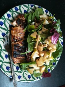maple balsamic salmon with pear salad